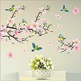 HALLOBO® Wandtattoo XL Vogel Blumen Pfirsichblüte Wandaufkleber Wandsticker Wohnzimmer Schlafzimmer Deco Wall Stick
