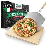 Pizza Divertimento - Pizzastein für Backofen und Gasgrill – Mit Pizzaschieber – Cordierit Pizza Stein – Pizza Stone für knuspriger Boden