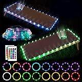 Cornhole Lights RGB 16 Farben ändern LED Board Lichter für Rand und Loch, mehrfarbig dimmbar mit Fernbedienung Familie Hinterhof Outdoor Sitzsack Wurfspiel, wasserdicht, 2 Sets (0,9 x 0,6 m)