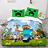 KIrSv Minecraft 3D-Druckmuster Bettbezug Kissenbezug, einzelnes Doppel-Kingsize-Bett, Favorit für Jungen und Jugendliche, weiches und bequemes Bettwäscheset-1_172x218cm (2 Stück)