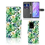 B2Ctelecom Klapphülle für Samsung Galaxy S20 Ultra Schutzhülle Orchidee Grün