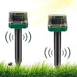 2 Stück solar maulwurfabwehr Ultrasonic Solar Maulwurfschreck Ultraschall Tiervertreiber Maulwurf Vertreiber Solar Wasserdicht IP65 für Den Rasen Garten, zum Vertreiben von Katzen, Hunden