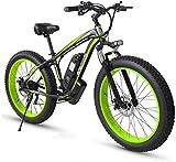 Elektrisches Mountainbike, Adult Fat Tire Elektro Mountainbike, 26 Zoll-Räder, Leichtes Aluminium Rahmen, Vorder Fahrwerk, Bremsen Dual Disc, Elektro-Trekkingrad for Touring,Fahrrad (Color : Green)