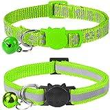Taglory Reflektierend Katzenhalsband mit Sicherheitsverschluss und Glöckchen, 2-Stück Verstellbar Halsband Katze Kitten, 19-32cm Grü