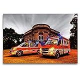 CALVENDO Premium Textil-Leinwand 120 x 80 cm Quer-Format NEF/RTW Rettungsdienst Braunschweig, Leinwanddruck von Markus Will