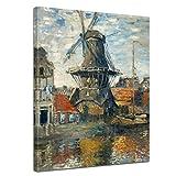 Bilderdepot24 Bild auf Leinwand | Claude Monet Windmühle am Onbekende Kanal, Amsterdam in 30x40 cm als Wandbild | Wand-deko Dekoration Wohnung alte Meister | 180852-30x40
