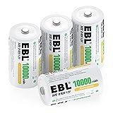EBL D Akku 10000 mAh, Wiederaufladbare NI-MH Batterie 4 Stück mit Aufbewahrungsbox, Mono D Akku