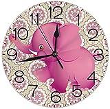 SBLB rosa Elefant runde Wanduhr leise nicht tickend batteriebetrieben 9,5 Zoll für Studenten Büro Schule Zuhause dekorative U