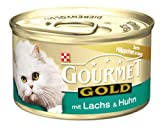 Gourmet Gold Zarte Häppchen in Sauce mit Lachs & Huhn85g Katzenfutter (24er Pack) von Purina