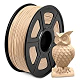 Wood PLA Filament 1.75mm, SUNLU Wood 3D Drucker Filament PLA, Niedrig Drucken Temperatur, Dimensionale Genauigkeit +/- 0.02mm, 1kg, Echtes Holz PLA