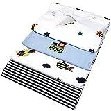 Baby Moltontuch Mullwindel Mullwücher 76x76 cm 100% Baumwolle I 4 x Baumwolle Mulltücher Ökotex Standard I Baumwollwindeln Stoffwindeln Set -1807 - Zug/blau