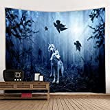 KHKJ Moon Wolf Sacred Animals Tapestry Decoration Wall Hanging Lion Wolf Tiger Pattern Background Tapestry Home Textile A9 230x180cm