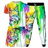 URVIP Herren Strandshorts T-Shirt 3-Teiliges Set 3D Wolf Gedruckt Lustiges Kurzarm Sommer Beiläufige Herren T-Shirt Tops Tees Badeshort Sporthose Sportswear Multi-07 3XL