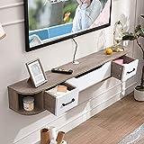 YXZN Hölzerner schwimmender TV-Regalschrank Wandmontierte Medienkonsole Moderne Wohnkultur Wandbehang-TV-Konsole für Kabelbox-Router