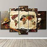 AWER Leinwandbild Weltkarte Modulare Bilder 5 Stück Leinwand Bilder Kunstdruck Wanddeko modern Wandbilder Wand Aufhängen Mit Rahmen