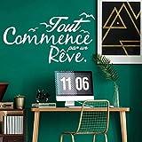 Wandaufkleber, lustige französische Zitate, Vinyl-Tapetenrolle, Möbel-Wandkunst, Dekoration für Zuhause, Büro, Schule