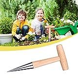 MRLZLT Dibbler Zwiebelpflanzer, Edelstahl Sau Dibber, Holzgriff Garten Pflanzensamenanbau Locher zum Pflanzen von Samen und Zwiebeln