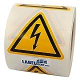 Labelident Warnaufkleber W012 - Warnung gefährliche elektrische Spannung - Seitenlänge: 100 mm - 500 selbstklebende Warnzeichen auf 1 Rolle(n), 3 Zoll, Vinyl Folie selbstkleb