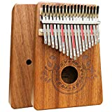 Kalimba 17 Keys Thumb Piano with Study Instruction and Tune Hammer, Portable Solid African Wood Finger Piano, Gift for Kids Adult Beg