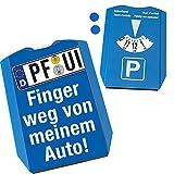 PF-UI Finger Weg von Meinem Auto Parkscheibe mit 2 Einkaufswagenchips witziges Geschenk im Kennzeichenlook für einen Autoliebhaber zum bestandenen Führerschein