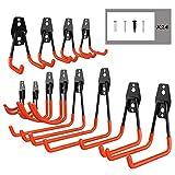 EJG 12 Stück Gerätehaken Garage Storage Haken, Robust Doppelhaken Wandhaken Für die Organisation von Elektrowerkzeugen, Leitern, Fahrrädern, Skateboard, Seilen DIY Garage Organisation (Orange)