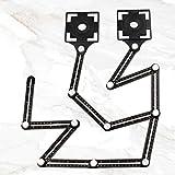 Winkelschablone Template Tool, 12-seitiges Multi Angle Winkelmesser Lineal Metall Winkel Werkzeug Verstellbarer Konturenlehre Schablonen Messgerät für Tischler Fliesenleger Pflastern Loch