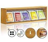 KrockaZone - Teebeutel Aufbewahrungsbox Organizer / Teebox mit Kippdeckel zum Wand aufhängen/ Teebeutelspender Natur Bambus