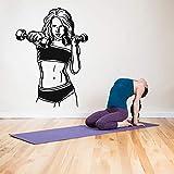 HFDHFH Sport Fitness Wandtattoo Kunst Wandaufkleber Wandbild Raumgestaltung Hauptdekoration Wohnzimmer Fitnessstudio Mädchen Körperdekoration Tap