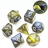 Würfel-Set für Tischspiele, 7-teilig, zweifarbig, Kunstharz, Polyedral, für Spiele (Farbe: Gelbblau)