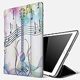 Qinniii iPad 5./6. Generation Hülle, kompatibel iPad 9.7 2018/2017 Hülle,Musik Abstrakter Bildhintergrund mit Gitarrennotizen Star Beam Like Design,Slim Shell dünne Schutzhülle Cover Tasche