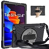 Gerutek Hülle Samsung Galaxy Tab S7+/S7 Plus 12.4 Zoll (T970/T975/T976), Stoßfeste Robust Panzerhülle mit Drehbar Stände, Handschlaufe, Schultergurt und Schutzhülle für Samsung Tab S7+ 12.4', Schwarz