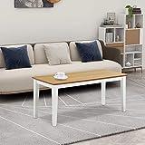 GOLDFAN Couchtisch Holz Moderner Tisch Rechteckiger Wohnzimmertisch Kaffetisch 90x40x40cm,Weiß