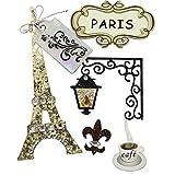 """Rayher 58442000 Deko-Sticker """"Paris"""" in 3D-Optik, mit Klebepunkt, 5 Motive aus speziellen Materialien"""