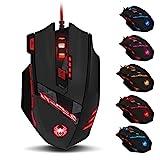 Zelotes T90Qualität multi-modes LED-Lichtern, 9200DPI Kabelgebundene USB-Gaming-Maus Computer-Mäuse für PC, Gewicht Tuning Set, Mac, 8Tasten (schwarz)