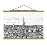 Stoffbild mit Posterleisten - Stadtstudie - Rom 66.5cm x 100cm Eiche