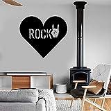 HGFDHG Rock Heart Love Wandtattoo Musik Geste Vinyl Wandaufkleber Cool Teen Schlafzimmer Wohnzimmer Musikzimmer Bar Kunst Wandb