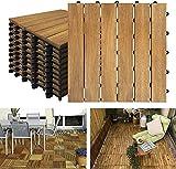 XZhstes Akazien-Holz Terrassenfliesen 30 x 30 cm Holzoptik Balkonfliesen mit Drainag und klick-Fliesen für Garten Terrasse Balko (Size : 1m² - Model A)