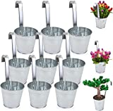esto24® 9er Set Hängetopf Pflanztopf Übertopf mit Haken Silber Zink Blumentopf Vase Balkon Garten