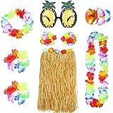 Hawaii Set,Hawaiian Hula Grass Rock Set 8 Stück Hawaii Mottoparty Kostüme mit Halskette Armbänder Stirnband Blume BH Haarspange und Ananas Sonnenbrille für Mädchen Frauen Hawaiian Luau Beach Party