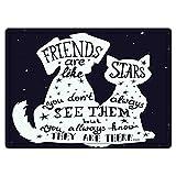 Badematte und Bodenmatte 40x60cm,Hund, Freunde sind wie Sterne Zitat mit Silhouette von Haustieren auf einem Raum themenorientierten rutschfeste Badezimmerteppiche, weiche Badezimmerteppiche