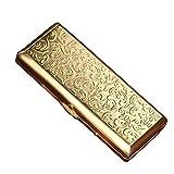 YXZN Metall Zigarettenetui für Männer und Frauen verlängern ultradünne tragbare Zigarettenhalter Edelstahl Zigarettenschachtel,Gold,108X46X20MM