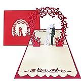 Pop-Up Hochzeitskarte Brautpaar Besondere 3D-Karte zur Hochzeit, Glückwunschkarte zur Trauung 15*15 cm