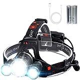 VICTOOM Stirnlampe, Kopflampe Wiederaufladbare Stirnlampe mit 3 Lichtern 4 Modi, super helle LED Kopflampe, Freisprech-Taschenlampe für Laufen, Camping, Angeln, Radfahren, Wandern