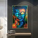 Bunte Buddha Statue Kunstdruck zum Aufhängen Farbgemälde Poster Gemälde Leinwand Wandkunst Druck Wohnkultur für WohnzimmerSchlafzimmer Malerei 16'X24'(40x60 cm)