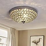 Depuley LED Kronleuchter Kristall Deckenlampe Modern Deckenlampe mit Elegantem Design, Breite 30 x Höhe 12 cm, 2 Lampenfassungen für Wohnzimmer Schlafzimmer Esszimmer, Glühb