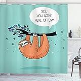 ABAKUHAUS Duschvorhang, Karikatur Faultier mit Zitat so You Come Here Often Farbbild Natur AST Blatt Digital Druck, Wasser und Blickdicht aus Stoff mit 12 Ringen Schimmel Resistent, 175 X 200 cm
