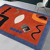 Teppiche balkondekoration Rotblauer schwarzer geometrischer Teppich ist leicht zu reinigen verfügbares Wohnzimmer Wohnzimmer Kamin Wohnung deko 160*230