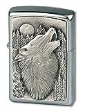 Zippo Howling Wolf Emblem-Chrome Brushed Feuerzeug, schwarz, 5.8 x 3.8 x 1.8 cm