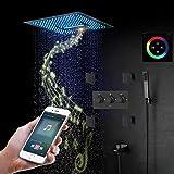 HPDOM Duschsystem schwarz,400x400 mm Regenduschset mit,LED RGB Multifunktional Dusche,Spa Spray, Regen, Wasserfall Duschkopf,Handbrause,304 Edelstahl,Duscharmatur