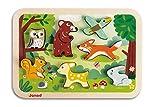 Janod J07023 Steckpuzzle mit Vertiefungen aus Holz, Wald-Motiv, 7 Teile, frühkindliches Lernspielzeug, für Kinder ab 18 Monaten